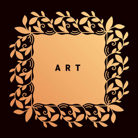 Vector template with golden color floral ornament frame and text art on dark background