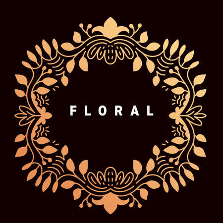 Vector template with golden color ornament frame and text floral on dark background Illustration