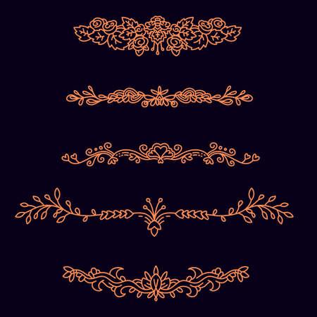 On dark background vector set of golden color floral border with ornament