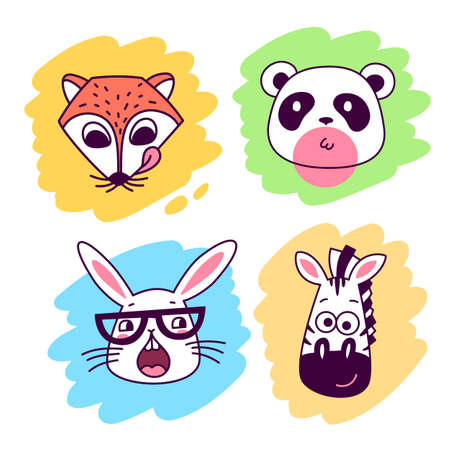 Vector set of illustration of cute head of animal. Fox, zebra, rabbit and panda on color background