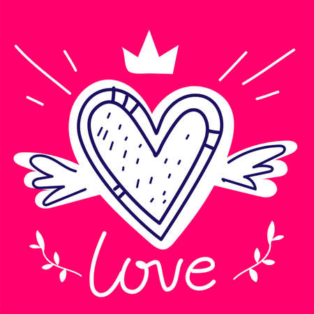 Vector romantic illustration of cute heart with wings and word love on red color background
