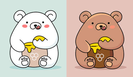 Vector illustration of two cute happy bear eating honey from paw on color background with honey pot Illustration