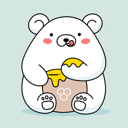 Vector illustration of cute happy white bear eating honey from paw on color background with honey pot