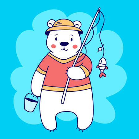 Vector illustration of cute white bear in red t-shirt and hat with fishing rod and bucket on blue color background