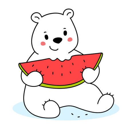 Vector illustration of cute happy bear eating piece of red watermelon on white color background