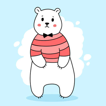 Vector illustration of cute white bear in red t-shirt on color background