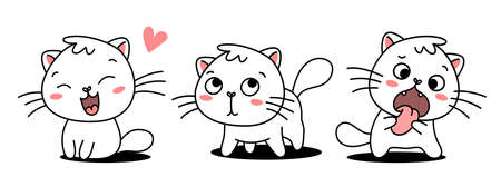 Vector set of illustration of cute cat in different pose on white color background