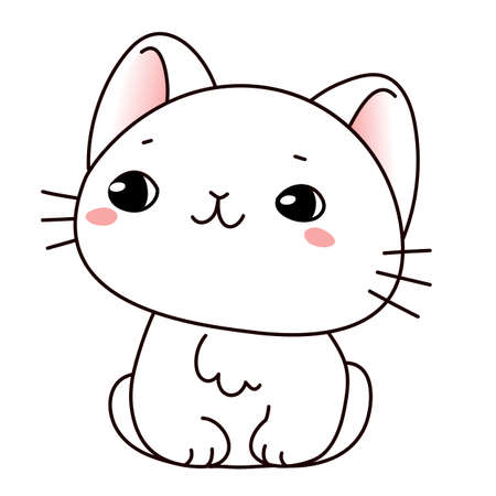 Vector illustration of cute sitting cat on white color background Illustration