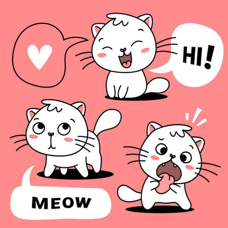 Vector set of illustration of cute white cat in different pose with speech bubble on color background