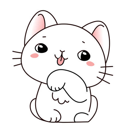 Vector illustration of cute licking paw cat on white color background