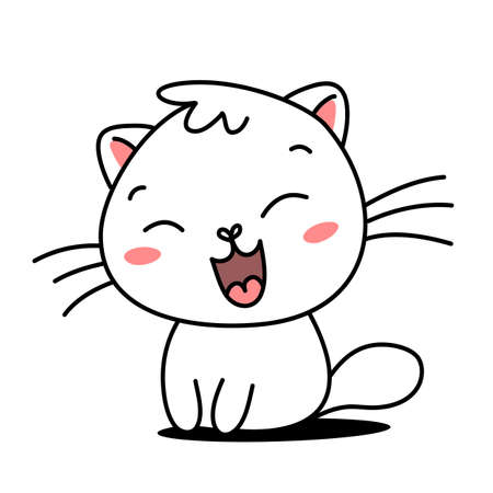 Vector illustration of cute cat with open mouth on white color background Illustration
