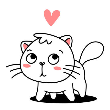 Vector illustration of cute cat with pink heart on white color background