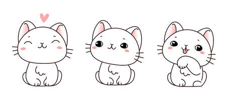 Vector set of illustration of cute kitty in different pose on white color background