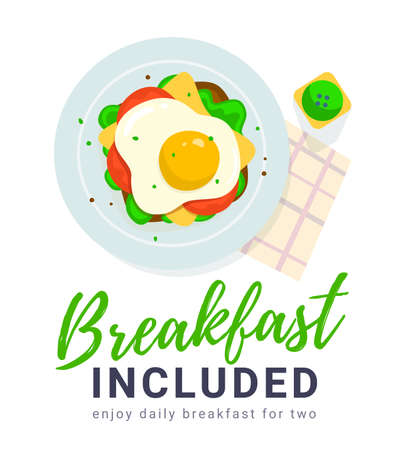 Vector illustration of plate with scrambled egg sandwich on white color background with text