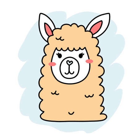 Vector illustration of head of cute happy line art yellow llama on color background