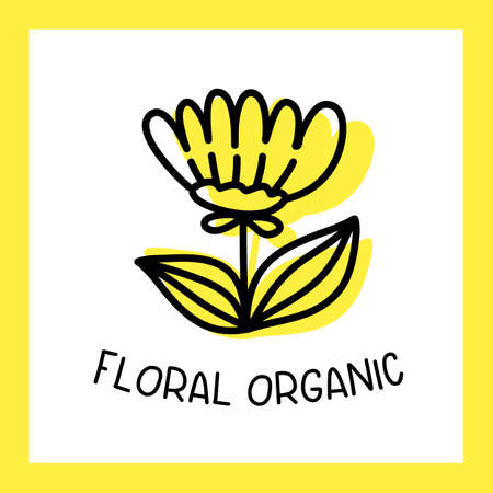 Vector yellow color flower with text and frame on white background