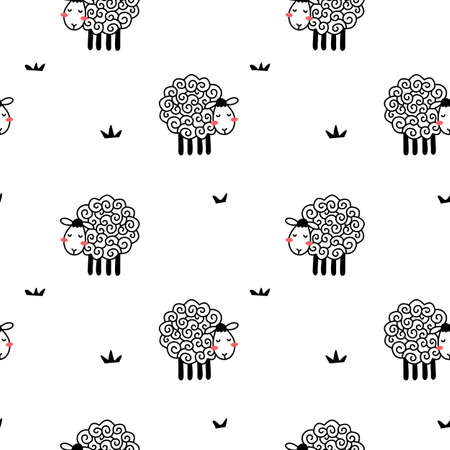 Vector seamless pattern with cute line sheep with curly wool on white color background