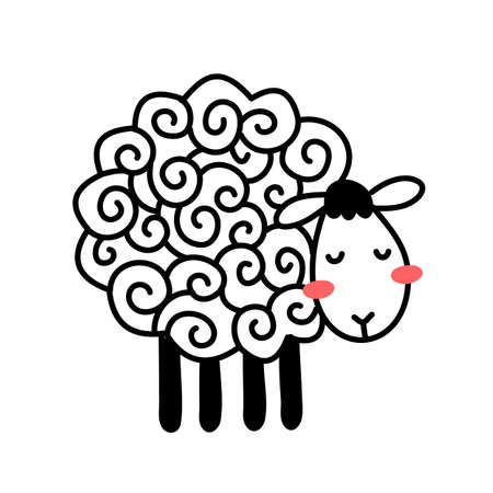 Vector illustration of cute line sheep with curly wool on white color background