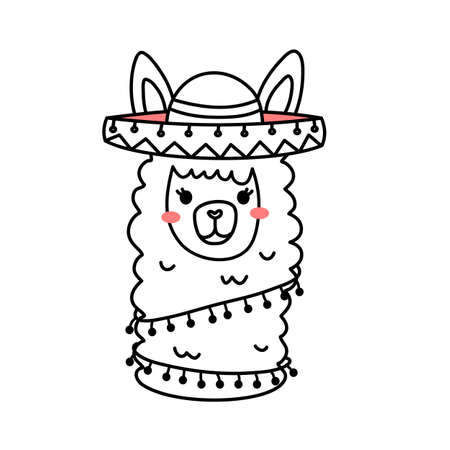 Vector illustration of head of cute line art llama with hat and accessory on white color background