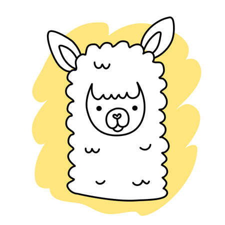 Vector illustration of head of cute happy line art llama on yellow color background Illustration