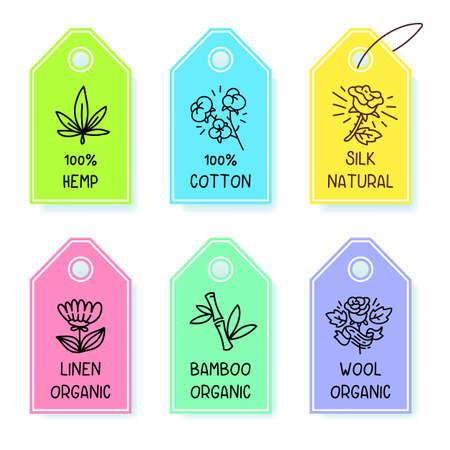 Vector set of color label with text and icon on white color background