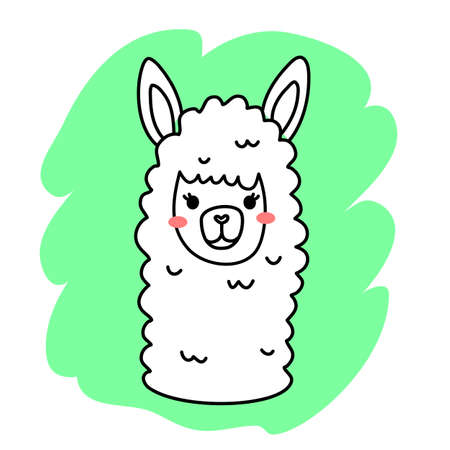 Vector illustration of head of cute happy line art llama on green color background