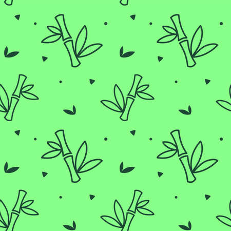 Vector seamless pattern with bamboo stem on green color background Illustration