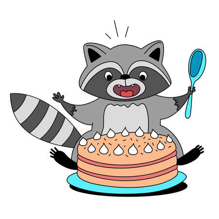 Vector illustration of cute happy raccoon with spoon and cake on white color background