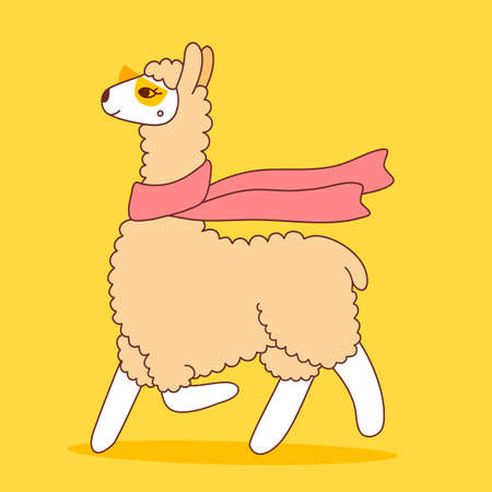 Vector illustration of cute llama with scarf and glasses on yellow color background