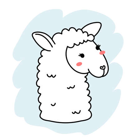 Vector illustration of head of cute happy line art llama on color background
