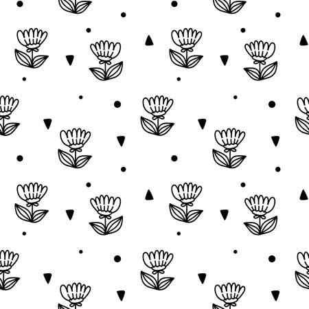 Vector seamless pattern with flower on white color background