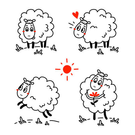 Vector set of illustration of cute happy line art sheep with curly wool in different pose on white color background