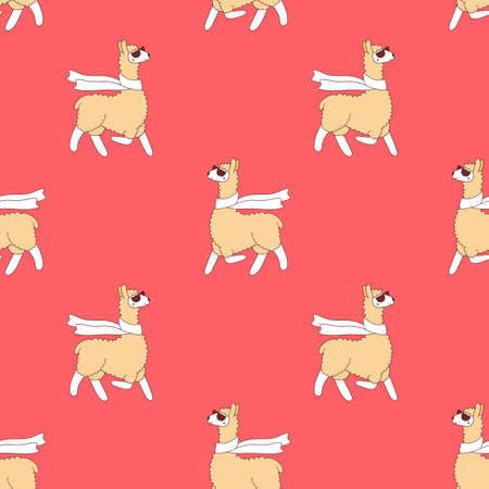 Vector seamless pattern of cute yellow llama with scarf and glasses on red color background Illustration