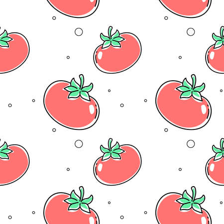 Vector seamless pattern with red tomato with green leaf on white color background