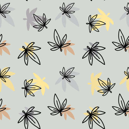 Vector seamless pattern with leaf on color background