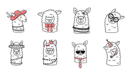 Vector big set of illustration of head of cute happy line art llama with accessory on white color horizontal background