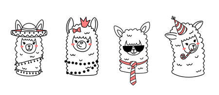 Vector set of illustration of head of cute happy line art llama with fun accessory on white color horizontal background Illustration