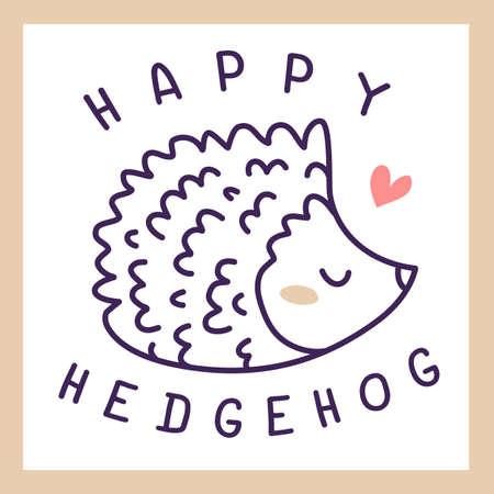 Vector illustration of cute hedgehog on white color background Illustration