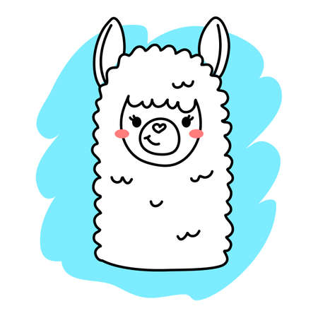 Vector illustration of head of cute happy line art llama on blue color background