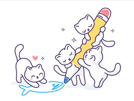 Vector illustration of cute happy cat with pencil drawing fish on white color background