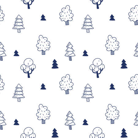 Vector natural seamless pattern with tree and fir tree on white color background