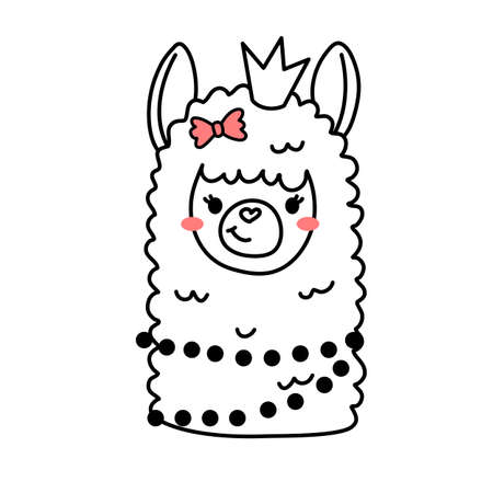 Vector illustration of head of cute line art llama with crown on white color background