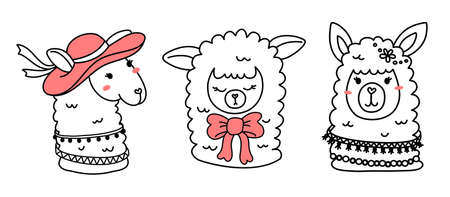 Vector set of illustration of head of cute happy line art llama with pink accessory on white color background