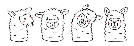 Vector set of illustration of head of cute happy line art llama on white color horizontal background Illustration