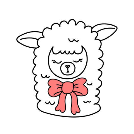Vector illustration of head of cute line art llama with close eyes and bow on white color background