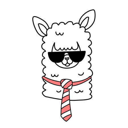 Vector illustration of head of cute business line art llama with glasses and tie on white color background
