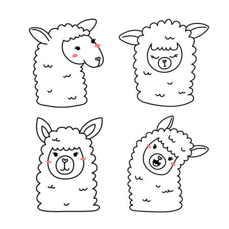 Vector set of illustration of head of cute happy line art llama on white color background