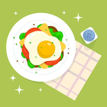 Vector illustration of plate with scrambled egg sandwich on green color background