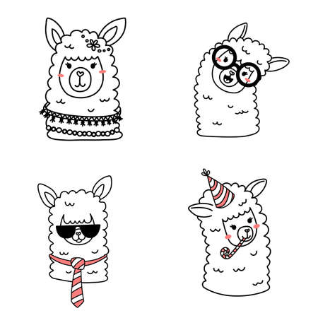 Vector set of illustration of head of cute happy line art llama with accessory on white color background Illustration