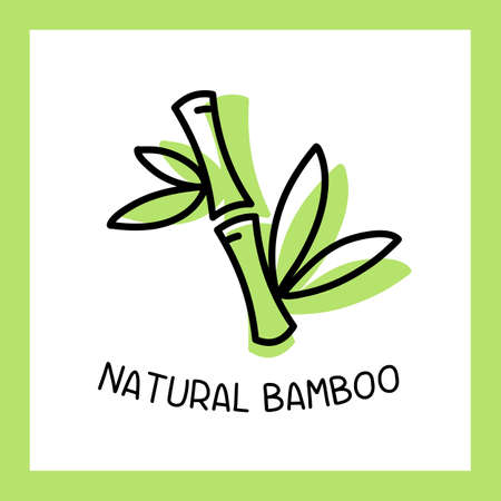 Vector green color bamboo stem with text and frame on white background